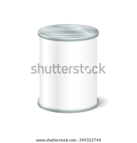 Realistic Blank Tin For Canned Food, Preserve, Conserve. Mock Up To Advertise Goods. Packaging Template. Vector. - stock vector