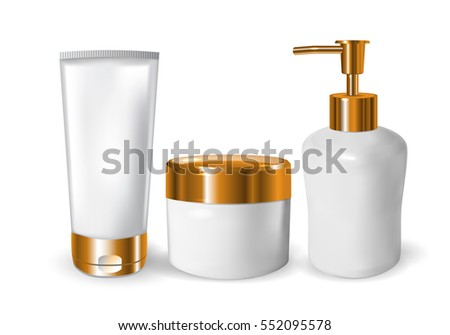 realistic blank tubes for cosmetics. Set with cosmetic vial, flask. Tube of cream. 3d illustration.
