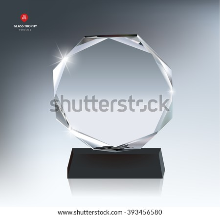 Realistic Blank Vector Glass Trophy Award - stock vector
