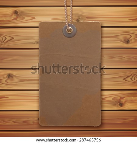 Realistic Blank Vintage Label On Wooden Planks Price Tag Vector Illustration