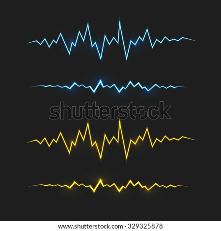 Realistic blue and yellow electric lightning. Vector special effects design elements. - stock vector