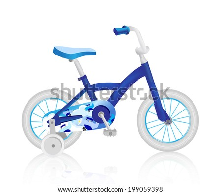 Realistic blue baby bicycle. Vector - stock vector