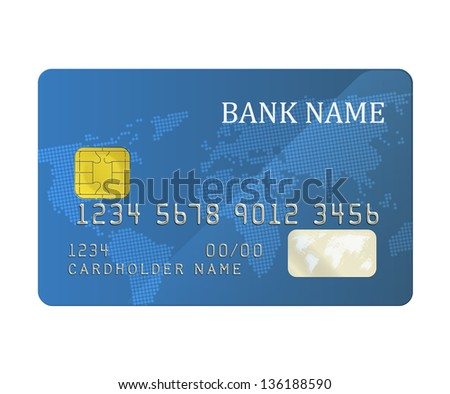 Realistic blue bank card with a chip. EPS10 vector. - stock vector
