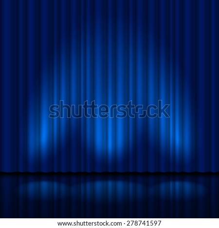 Realistic blue curtain. Illustration for creative design