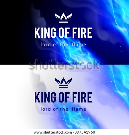 Realistic Blue Fire Flames Effect on Black and White Backgrounds - stock vector