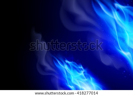 Realistic Blue Fire Flames Effect on Black Background - stock vector