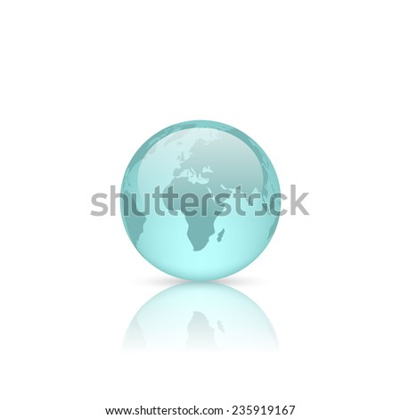 Realistic blue glass globe isolated on white. Vector illustration.
