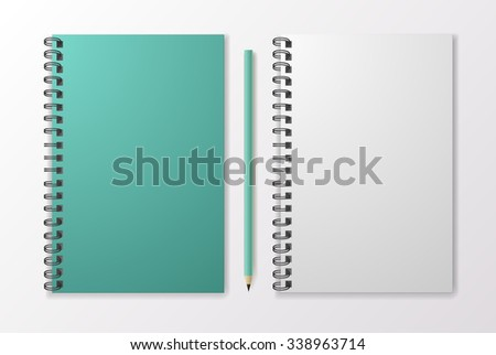 Realistic blue notebook with pencil and template blank, vector - stock vector