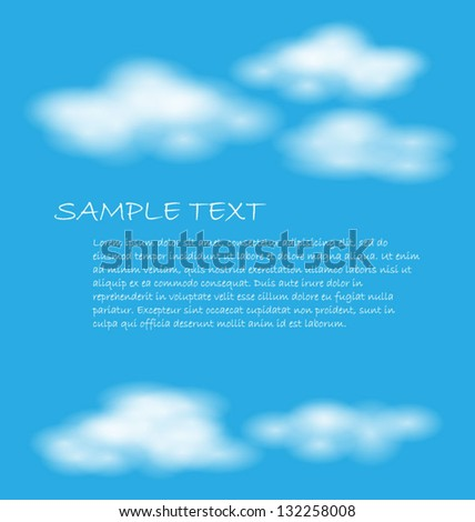 Realistic blue sky with clouds, space for your copy, eps10 vector - stock vector