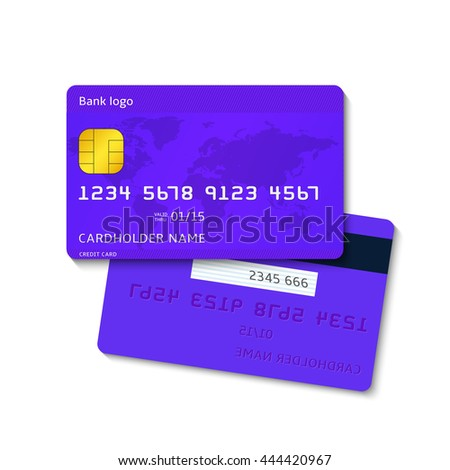 Realistic blue vector credit card, two sides isolated on white background. Banking finance concept. Detailed glossy cards, business design