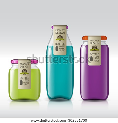 Realistic bottles of glass for your design. Template of glass jars. Blank juice, jam, liquids. Isolated objects for your product design.  - stock vector