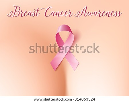 Realistic breast with pink ribbon, breast cancer awareness symbol. Healthcare and medicine concept. Vector illustration, eps10. - stock vector