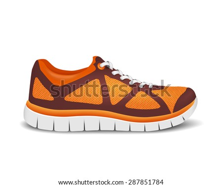 Realistic bright sport shoes for running. Vector illustration - stock vector