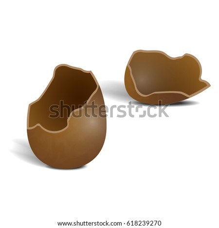 Realistic broken milky chocolate egg isolated on white background. Two halfs of egg with shadow. Icon for design. Vector illustration of hollow tasty sweetness.