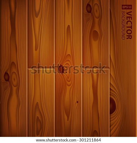 Realistic brown wood boards texture. Vintage wooden parquet planks background. RGB EPS 10 vector illustration - stock vector
