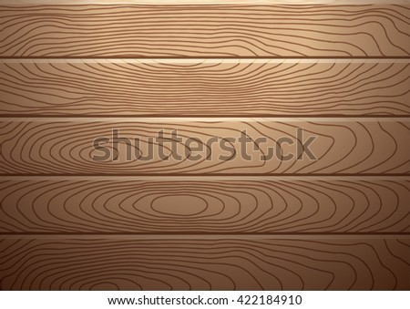 Realistic brown wood plank background with spotlight over, for product display - stock vector