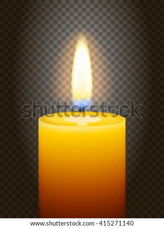 Realistic burning candle. Transparency grid. Special effect. Ready to apply to your design. Graphic element for documents, templates, posters, flyers. Vector illustration - stock vector