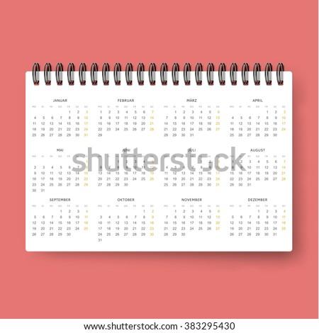 Realistic calendar. Calendar template in Dutch 2016 . Ready calendar. Mock up calendar. Calendar realistic. Design of the calendar . datebook design. Calendar for 2016. The daily print business . - stock vector