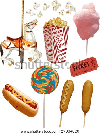 Realistic Carnival Vector Items - stock vector