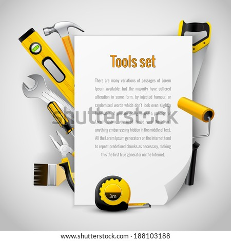 Realistic carpenter tools background frame with hammer saw pliers wrench screwdriver and measuring tape vector illustration - stock vector
