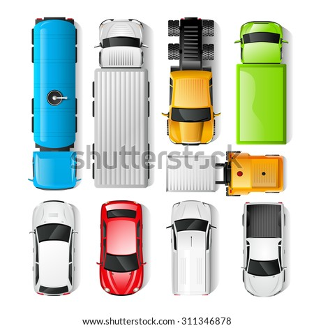 Realistic cars and trucks top view set isolated vector illustration - stock vector