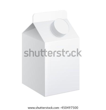 Realistic carton of milk. carton package. vector illustration. - stock vector