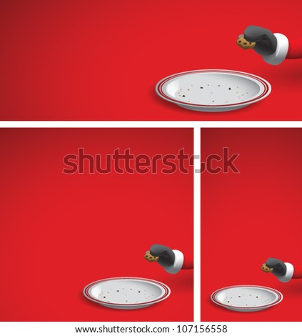 Realistic cartoon illustration of a Christmas background showing Santa Claus reaching into the frame and taking a chocolate chip cookie, leaving an empty plate of cookie crumbs. Plenty of copy space. - stock vector