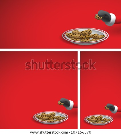 Realistic cartoon illustration of a Christmas background showing Santa Claus reaching into the frame and taking a chocolate chip cookie from a serving plate. Plenty of copy space. - stock vector