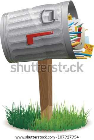 Realistic cartoon illustration of a mailbox shaped like a metal garbage can, overflowing with junk mail. Isolated on white.