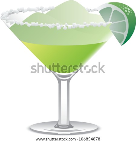 Realistic cartoon illustration of a margarita in a large martini glass, garnished with salt and a lime wedge, isolated on white.
