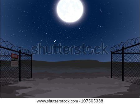Realistic cartoon illustration of a secret military compound in the desert with a full moon rising overhead.