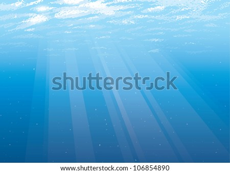 Realistic cartoon illustration of an empty underwater background just below the water's surface with rays of light shining through the water. - stock vector