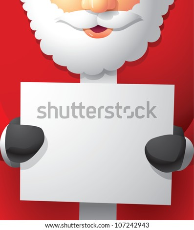 Realistic cartoon illustration of Santa Claus holding a blank white paper sign with plenty of room for your own content.