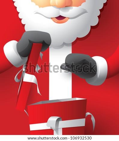Realistic cartoon illustration of Santa Claus opening a Christmas present. - stock vector