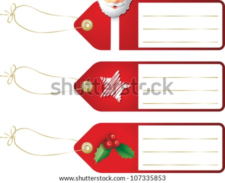 Realistic cartoon illustration of some Christmas gift tags featuring images of Santa Claus, a star, and a sprig of holly berries. Space is provided for your own text.