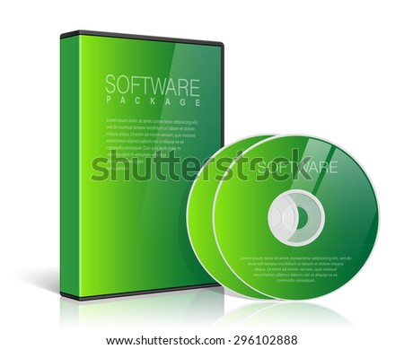 Realistic Case for DVD Or CD Disk with Disk on a transparent background. Vector Illustration - stock vector