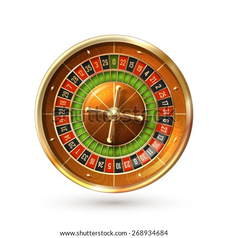 Realistic casino gambling roulette wheel isolated on white background vector illustration - stock vector