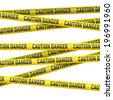 Realistic caution and  danger yellow tape. Illustration on white background  - stock photo