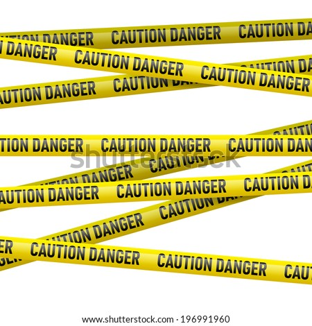 Realistic caution and  danger yellow tape. Illustration on white background  - stock vector