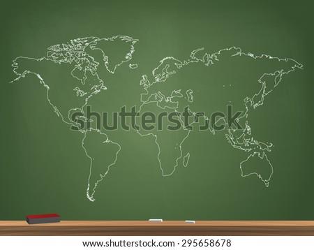 Realistic Chalkboard World Map Vector Illustration - stock vector