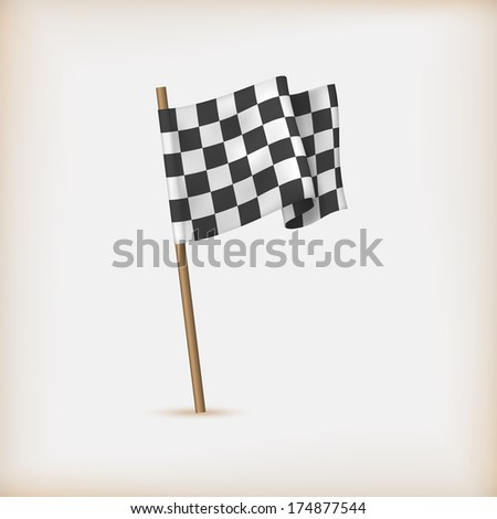 Realistic Checkered Racing Flag. Vector - stock vector