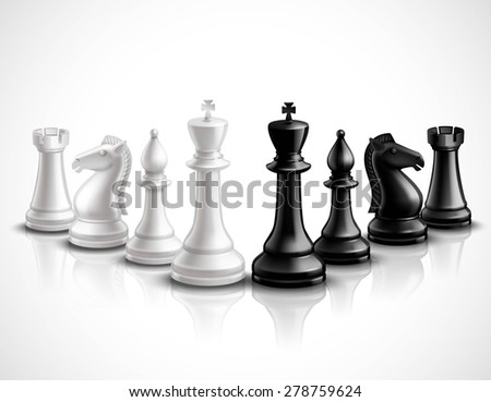 Realistic chess game pieces 3d icons set with reflection vector illustration - stock vector