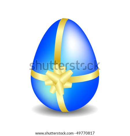 Realistic chocolate easter egg with golden ribbon and bow - stock vector
