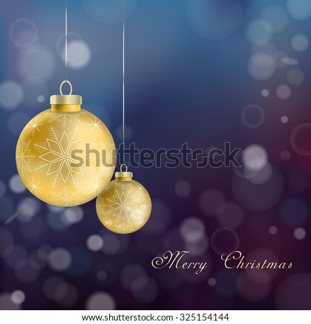 realistic Christmas baubles hanging over blurred background