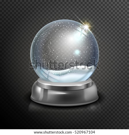 Realistic Christmas glass snow globe isolated on transparent background. vector illustration. Winter in glass ball. Magic Christmas crystal ball of glass, snow and silver stand. Vector illustration