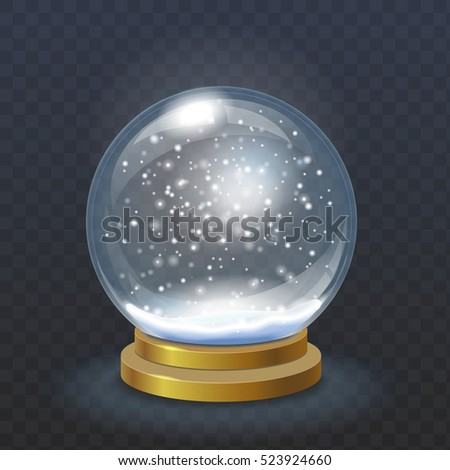 Realistic christmas snow globe isolated on transparent checkered background vector. Winter in glass ball