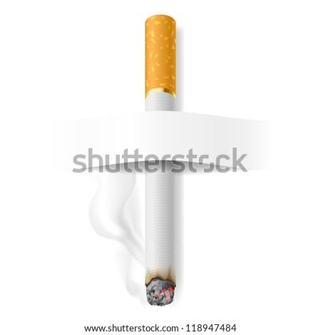 Realistic cigarette. Illustration on white background for design - stock vector