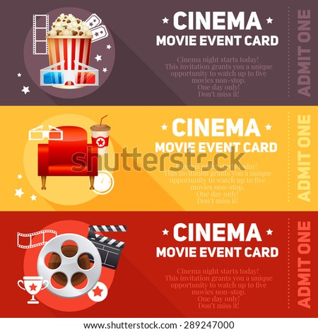 Realistic cinema movie cards template with film reel, clapper, popcorn, 3D glasses, concept banners  - stock vector
