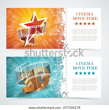 Realistic cinema movie poster, event card template. Vector. - stock vector
