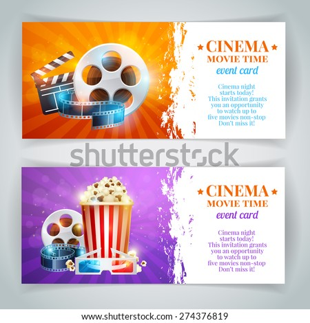 Realistic cinema movie poster template film stock vector for Movie brochure template
